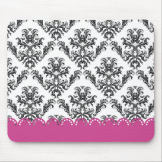 Vintage Pattern B&W with pink Mouse Pads