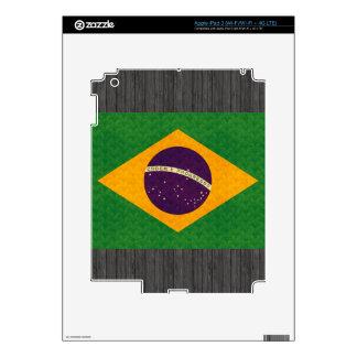 Vintage Pattern Brazilian Flag Skins For iPad 3