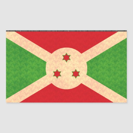 Vintage Pattern Burundian Flag Rectangle Sticker