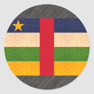 Vintage Pattern Central African Flag Round Stickers