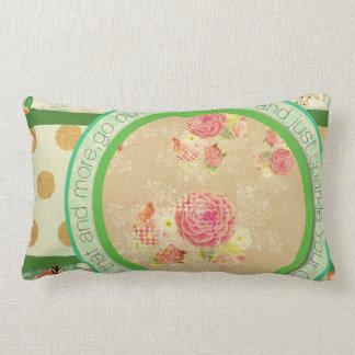 vintage pattern collage,typography,inspirational,s lumbar pillow