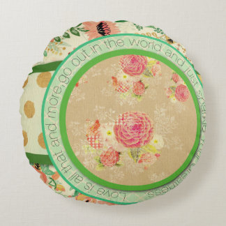 vintage pattern collage,typography,inspirational,s round pillow