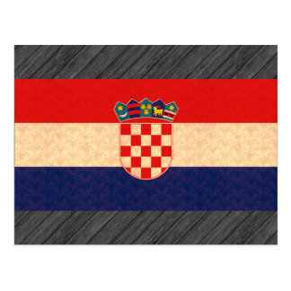 Vintage Pattern Croatian Flag Postcard