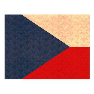 Vintage Pattern Czech Flag Postcard