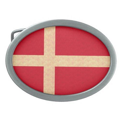 Vintage Pattern Danish Flag Belt Buckle