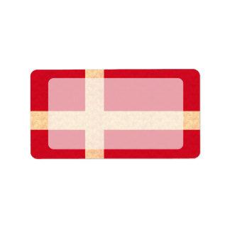 Vintage Pattern Danish Flag Label