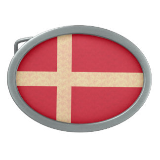 Vintage Pattern Danish Flag Oval Belt Buckle