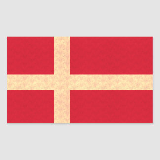 Vintage Pattern Danish Flag Rectangular Stickers