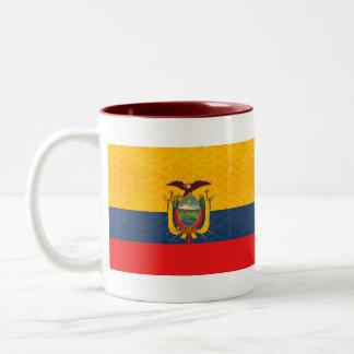 Vintage Pattern Ecuadorean Flag Two-Tone Coffee Mug
