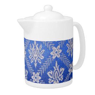 Vintage Pattern Fabric Blue Teapot