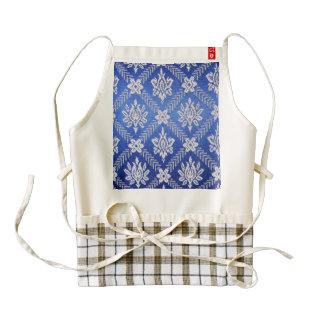 Vintage Pattern Fabric Blue Zazzle HEART Apron