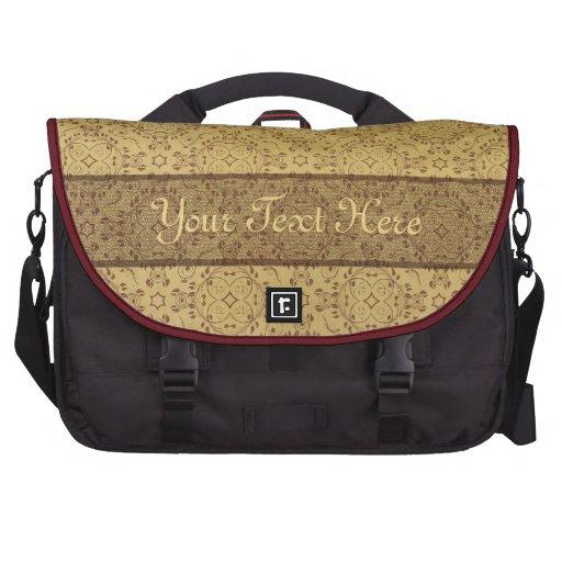 Vintage pattern floral diamonds sepia (edit) laptop bag