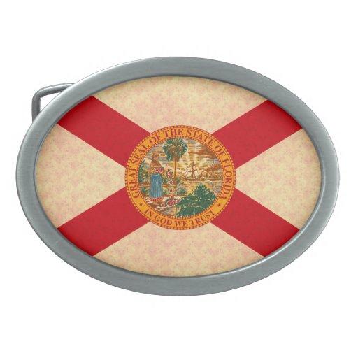 Vintage Pattern Floridian Flag Oval Belt Buckle