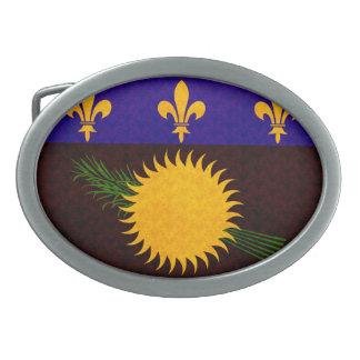 Vintage Pattern Guadeloupean Flag Oval Belt Buckle
