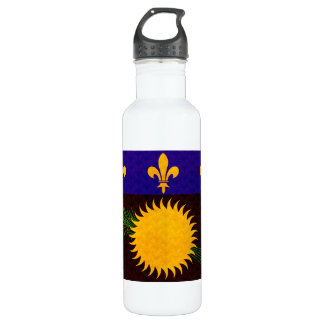 Vintage Pattern Guadeloupean Flag Water Bottle