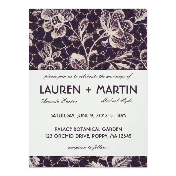 Vintage Pattern Lace Wedding Invitation