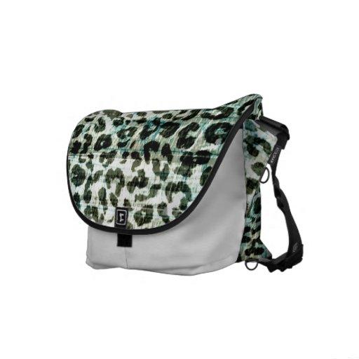Vintage pattern leopard fur abstract texture messenger bags