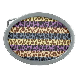 Vintage pattern leopard fur texture oval belt buckle