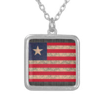 Vintage Pattern Liberian Flag Silver Plated Necklace