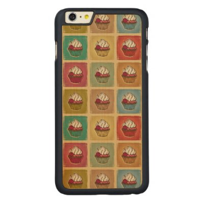 Vintage pattern made of cupcakes carved® maple iPhone 6 plus slim case