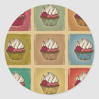 Vintage pattern made of cupcakes classic round sticker