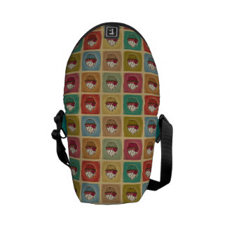 Vintage pattern made of cupcakes courier bag
