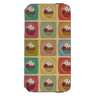 Vintage pattern made of cupcakes iPhone 6/6s wallet case