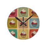 Vintage pattern made of cupcakes round wallclock