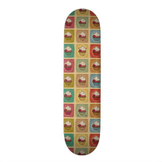 Vintage pattern made of cupcakes skateboard deck