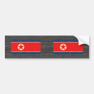 Vintage Pattern North Korean Flag Bumper Stickers