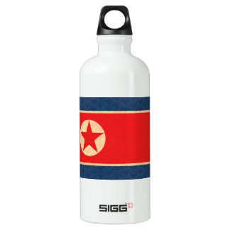 Vintage Pattern North Korean Flag Water Bottle