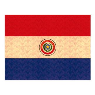 Vintage Pattern Paraguayan Flag Postcard