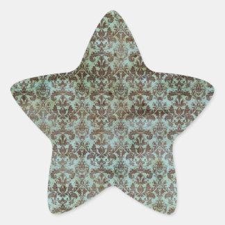 Vintage pattern - picture 9 (brown & blue) star sticker