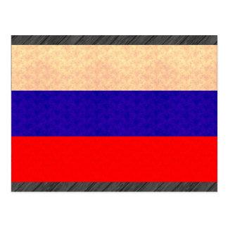 Vintage Pattern Russian Flag Postcard