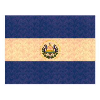 Vintage Pattern Salvadoran Flag Postcard