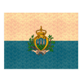 Vintage Pattern Sammarinese Flag Postcard