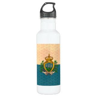 Vintage Pattern Sammarinese Flag Stainless Steel Water Bottle
