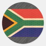 Vintage Pattern South African Flag Round Sticker
