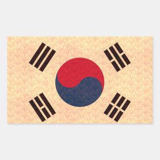 Vintage Pattern South Korean Flag Rectangle Stickers