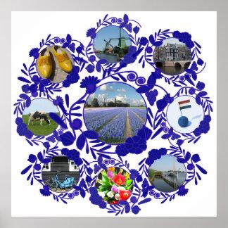 Vintage Pattern Style Delft Blue Delftware Poster