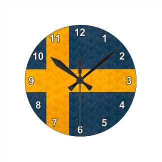 Vintage Pattern Swedish Flag Clock