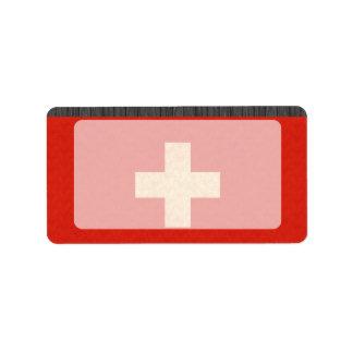 Vintage Pattern Swiss Flag Custom Address Labels
