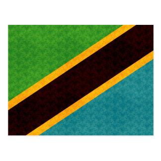 Vintage Pattern Tanzanian Flag Postcard