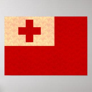 Vintage Pattern Tongan Flag Poster