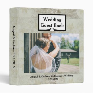 Vintage Pattern Wedding Guest Book Binder