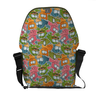 Vintage pattern with cartoon animals courier bag