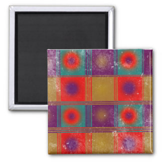 Vintage Pattern With Circles and Squares 2 Inch Square Magnet