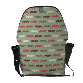 Vintage pattern with mustache courier bag
