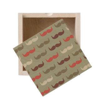 Vintage pattern with mustache wooden keepsake box
