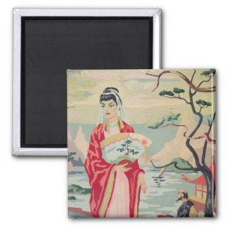 Vintage PBN Asian Motif Scene Magnet